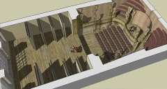 Domaine de Bellevue : ancien château - Français:   Schéma restituant le volume du théâtre de Bellevue, 1750-1757. par Franck Devedjian (publié dans la revue Versalia 2016).