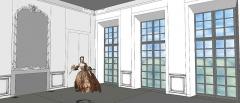 Domaine de Bellevue : ancien château - Français:   Schéma de l\'antichambre commune du premier étage, disposant de la vue sur la Seine, avec repositionnement du trumeau originel surmontant la cheminée. 1750.
