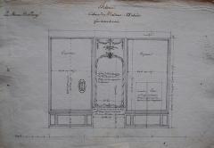Domaine de Bellevue : ancien château - Français:   Paroi du côté de l\'aile des bains du cabinet d\'angle de Mme Adélaïde à Bellevue, vers 1774. Archives nationales.
