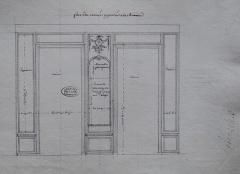 Domaine de Bellevue : ancien château - Français:   Paroi du côté de la Seine du cabinet d\'angle de Mme Adélaïde à Bellevue, vers 1774. Archives nationales.