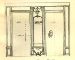 Domaine de Bellevue : ancien château - Français:   Paroi du côté de Sèvres du cabinet d\'angle de Mme Adélaïde à Bellevue, vers 1774.