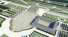 Domaine de Bellevue : ancien château - Français:   Restitution 3D du château de Bellevue vers 1757. Etat au temps de Mme de Pompadour. Franck Devedjian, 2012.