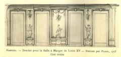 Domaine de Bellevue : ancien château - Français:   Paroi du côté de la Seine du grand salon de Bellevue, 1773. Non achevé à la mort de Louis XV en 1774. Archives nationales.