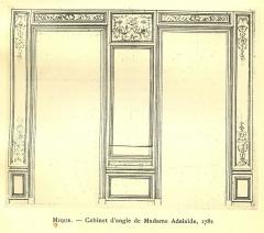 Domaine de Bellevue : ancien château - Français:   Elevation d\'une paroi du cabinet d\'angle, avec modification du décor proposé par l\'architecte Richard Mique. Archives nationales. 1782.