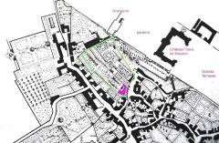 Maison d'Armande Béjart - Français:   Plan des jardins de la maison d\'Armande Béjart, épouse Guérin, vers 1700. En violet, la maison, et entouré d\'un trait vert, l\'emprise actuelle des jardins.