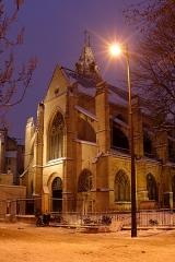 Eglise Saint-Médard - English: Church Saint-Médard in Paris by twilight and under the snow.