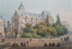 Eglise Saint-Médard - Français:   Eglise Saint Médard à Paris, Aquarelle signée par Isidore Laurent Deroy (1797-1886)