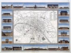 Ancien hôtel de Miramion, ancien musée de l'Assistance publique - Français:   Carte hospitalière de Paris en 1820 établie d\'après le plan des hôpitaux et hospices civils de la ville de Paris. - Avec des représentations de l\'Hospice de la Salpêtrière, l\'[ancien] Hôtel Dieu, la Maison de Sainte-Périne, la Pharmacie Centrale, l\'Hôpital Saint-Antoine, l\'Hôpital Beaujon, l\'Hospice des Orphelins, la Maison Royale de Santé, l\'Hôpital de l\'Accouchement, l\'Hospice de Bicêtre, la Maison de l\'Administration Générale, l\'Hôpital des Vénériens, l\'Hôpital Clinique de l\'Ecole de Médecine, l\'Hôpital de la Charité, la Maison de Retraite de Montrouge, l\'Hôpital Cochin, l\'Hôpital des Enfants Trouvés, l\'Hospice des Femmes incurables et de l\'Hôpital Saint-Louis.