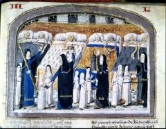 Ancien hôtel de Miramion, ancien musée de l'Assistance publique - Français:   Manuscrit enluminé de la fin du 15e siècle, écrit par Jehan Henry († 1483). Cette enluminure évoque une salle de malades typiquement médiévale.
