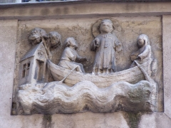 Immeuble - English: Bas-relief of Saint-Julien-l'Hospitalier at the Studio Galande cinema, rue Galande in Paris