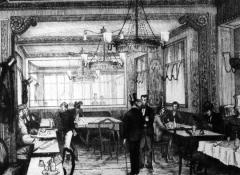 Café Le Procope - English: A gravure of Le Cafe Procope in XIX quarter in Paris.