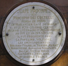 Café Le Procope - English: Cafe Procope plaque describing it is oldest cafe in the world. It reads: