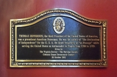 Café Le Procope - English: Historical marker for Jefferson in the Cafe Procope