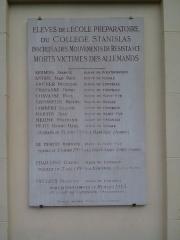 Collège Stanislas - Nederlands: voor de studenten van stan in de verzetsbeweging tijdens de WO.II