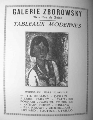 Débit de boisson  dit Au petit Maure -  Advertising poster: GAlerie Zborowsky, 26 - Rue de Seine, Tableaux Modernes, Amadeo Modigliano. Fille du peuple