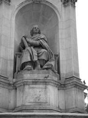 Fontaine du 19e siècle - English: Bossuet by Jean-Jacques Feuchère. Fountain of the Sacred Orators, Place Saint-Sulpice, Paris (6th arrondissement), France.