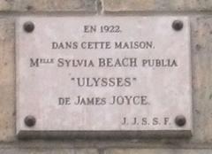 "Immeuble -  Memorial plaque at 12, Rue de l'Odeon Paris, France, where Sylvia Beach's bookstore ""Shakespeare & Company"" was located"