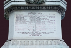 Monument du Maréchal Ney - English: one of the four faces of the pedestal of the statue of Marshall Michel Ney (The Bravest of the Brave) in Paris, relating his military career  during the Revolution and Napoleonic wars.