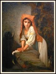 Musée Hébert (ancien petit hôtel de Montmorency) -  La lavandière ou jeune lavandière songeuse par Ernest Hébert (1817-1908) présentée dans l'exposition