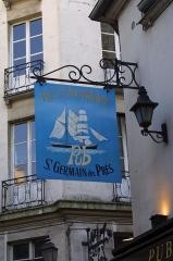Passage de la Cour du Commerce Saint-André (voir aussi : Enceinte de Philipe-Auguste) -  Enseigne, cour du Commerce-Saint-André, représentant un bateau à voiles