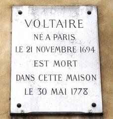 Hôtel de Vilette ou de Bragelongue - Deutsch: Gedenktafel Voltaires Sterbehaus, Quai Voltaire 27, Paris