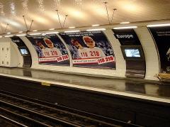 Métropolitain, station Europe - Français:   Station Europe de la ligne 3 du métro de Paris, France.
