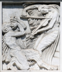 Théâtre des Champs-Elysées -  Antoine Bourdelle, 1910-12, La Musique, bas-relief (méthope), façade of the Théâtre des Champs Elysées