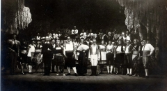 Théâtre Marigny - English:   The cast and band of \'G.I. Carmen\' on stage at the Theatre Marigny, Paris, France, November 1945