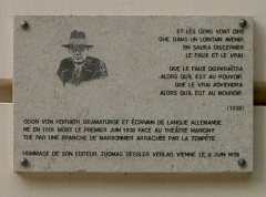 Théâtre Marigny - English:   Plaque where Odon von Horvath was killed in Paris.
