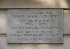Théâtre Marigny - Français:   Plaque Carré Marigny et François Baucher au Théâtre Marigny