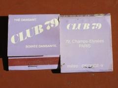 Immeuble - English: Advertising matchboxes of the dancing Club 79 (Champs-Élysées, Paris) shut in 2015.
