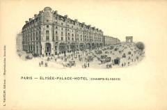 Immeuble, actuellement immeuble du Crédit Commercial de France - Français:   Carte postale de l\'Élysée Palace Hôtel, 103 avenue des Champs-Élysées (aujourd\'hui siège de la banque HSBC) vers 1900/1910.