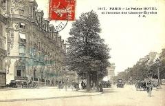 Immeuble, actuellement immeuble du Crédit Commercial de France - Français:   Carte postale ayant circulé en 1912. L\'Élysée-Palace hôtel, 103 avenue des Champs-Élysées (Paris, 8e arrond) et la station de métro Alma (devenue Georges V en 1920).