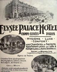 Immeuble, actuellement immeuble du Crédit Commercial de France - Français:   Affichette de publicité pour l\'Élysée-Palace Hôtel, avenue des Champs-Élysées (Paris, 8e arrond.).