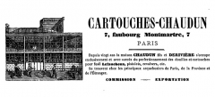 Bouillon Chartier - English: Advertising for Cartouches-Chaudun located 7 faubourg Montmartre (Paris, France), In: Album-étrennes...: l'ami du foyer illustré, Paris, Miguet, 1865. The Chaudin House, with Derivière from 1870 to 1875, was established around 1845, and was at this adress until the 1880s (the last company name was Chaudun Fils).