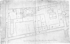 Ancien conservatoire National de Musique et de Déclamation - English: Site plan of the buildings of the Menus-Plaisirs on the rue Bergère in Paris in 1814