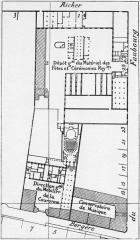 Ancien conservatoire National de Musique et de Déclamation - English:   Site plan of the Menus-Plaisirs and the Paris Conservatory, also showing the location of Conservatory Concert Hall
