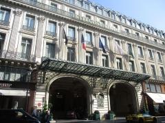 Grand Hôtel - 2 rue Scribeː entrée de l'Hôtel Intercontinental - Grand Hôtel.