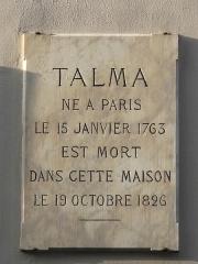 Hôtel Talma - English: House where died the great actor Talma (1763-1826): 3bis, rue de la Tour-des-Dames, Paris 9th arr.