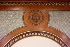 Immeuble ou ancien Hôtel de la Haye - Deutsch: Hôtel Radix de Sainte-Foix: Ecke 2, boulevard de la Madeleine/1-3, rue de Caumartin in Paris (9. Arrondissement), Decke im 1. Stockwerk