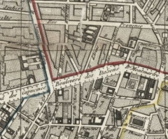 Immeuble - English: Collin map of Paris (1823) with the bains chinois (=chinese baths), the en:hotel Guimard and the en:hôtel Thellusson.