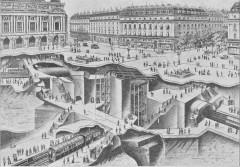 Métropolitain, station Opéra - English: The Opéra Paris Metro crossing