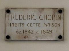 Square d'Orléans (ou Cité des Trois-Frères) - English: Plaque Chopin: 9, Square d'Orléans: Paris 9th arr.
