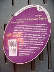 Sous-station Opéra -  Panneau RATP décrivant la sous-station d'alimentation électrique Opéra du métro de Paris