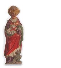 Eglise Saint-Jean-Baptiste - Esperanto: Plurkolorligna statuo de Sankta Briego. 16a jarcento Preĝejo de Hillion