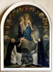 Eglise Saint-Jean - Français:   Tableau représentant le rosaire remis à Saint-Dominique accompagné d\'un chien portant une torche, un lys à ses pieds. Les mystères du rosaire entourent le tableau. Pas de signature ni de date.