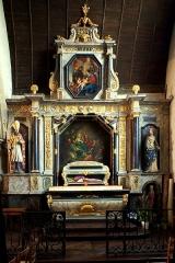 Eglise Saint-Jean - Français:   Retable de la chapelle-sud datant de 1667 et abritant les reliques de Saint-Amateur.  Hauteur = 1000; largeur = 615.   Réalisé par Josselin Dumains (peintre) et François Heude (doreur)[1].