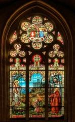 Eglise Saint-Jean - Français:   Saint Amateur apparaissant à deux enfants de Lamballe. Au loin collégiale Notre-Dame en construction.  Vitrail signe Ch. Champigneulle fils de Paris[1]