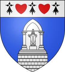 Oratoire de Saint-Guirec, à Ploumanac'h - Français:   blason de la commune de Ploumanac\'h: D'azur à l'oratoire de saint Guirec d'argent; au chef du même chargé de trois mouchetures d'hermine de sable alternant avec deux cœurs de gueules