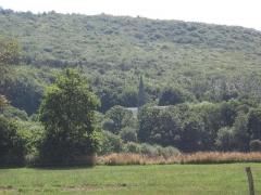 Abbaye de Boquen - Français:   Site de l\'abbaye cistercienne de Boquen, dans les Côtes-d\'Armor: le clocher au milieu de la vallée et de la forêt éponyme